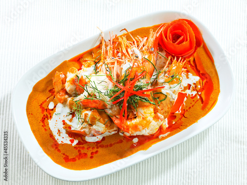 Concentrated curry with shrimp and spices herbs