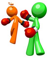 Two Men Boxing, Orange VS Blue