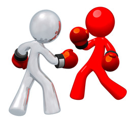 Silver Man and Red Man Boxing