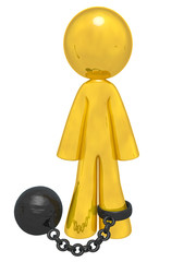 Gold Man with Ball and Chain
