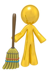 Quality Cleaning Services, Gold Man with Broom