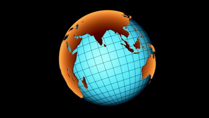 3D globe. Loop + Alpha channel.
