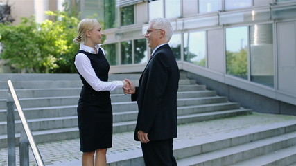 Businesswoman and senior manager meet