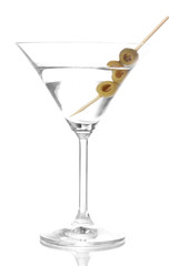 Martini glass and olives isolated on white