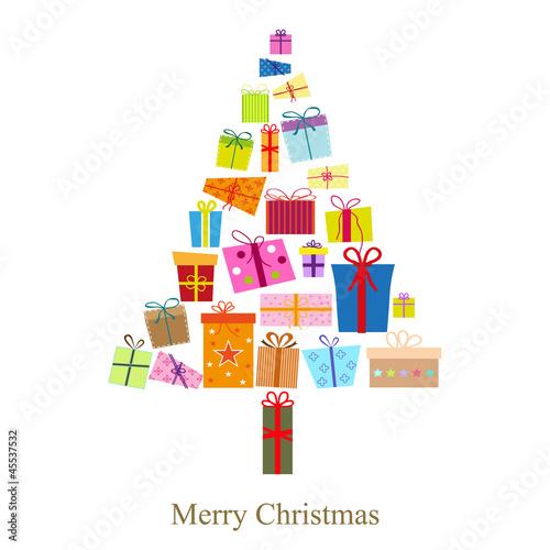 Weihnachtsbaum bestehend aus Geschenke