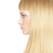 Beautiful woman with blond healthy hair - beauty salon backgroun