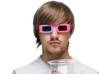 young man in stereo glasses with popcorn