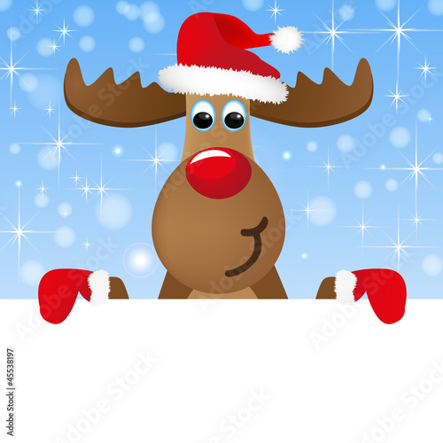 Weihnachtselch mit Schild