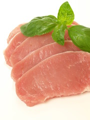 Pork with basil, isolated, closeup