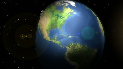 Concept animation, earth with moving gears.