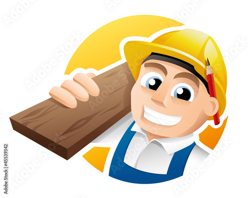 Illustration of a happy carpenter wearing hard hat and overalls