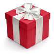 Red gift box with white ribbon and bow.