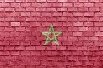 Morocco flag on a brick wall