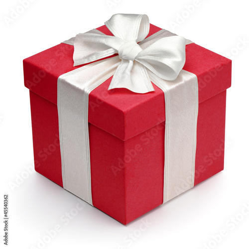 Red gift box with white ribbon and bow. - 45540362