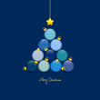 Abstract Christmas Tree Balls Pattern Blue/Gold