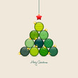 Abstract Christmas Tree Balls Pattern Green/Beige Gold