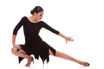 woman salsa dancer in a lunge pose