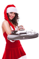 santa woman handing you electric guitar