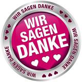 """Button Banner """"Wir sagen danke"""" pink/silber"""