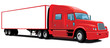 Vector isolated red semi truck without gradients