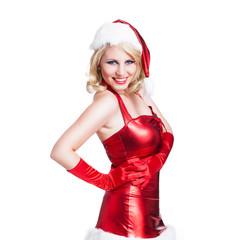 Weihnachtsfrau im roten Minikleid
