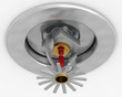 3d illustration of pendent fire sprinkler high key.