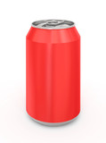 Red Aluminum Can. Isolated on a white