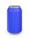 Blue Aluminum Can. Isolated on a white.