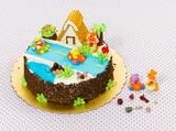 Handmade fancy cake beautiful and eatable for chrildren poster