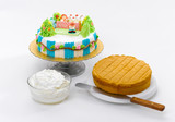 Fancy and eatable cake with raw material prepare for learning to poster