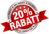 """Button Banderole """"20% Rabatt"""" rot/silber"""