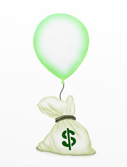 A Bag of Money Flying Up by A Green Balloon