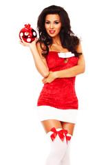 santa helper girl on white background