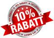 """Button Banderole """"10% Rabatt"""" rot/silber"""