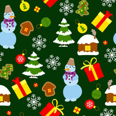 Colored Christmas seamless pattern