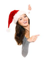 Weihnachtsfrau mit Werbefläche