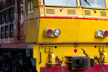close up of locomotive