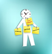 A paper-men with clock head reminding