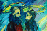 bible apostles peter and paul,  illustration, painting by oil on