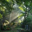 Leinwanddruck Bild - Bergfriedhof in Heidelberg