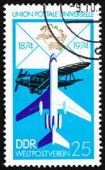 Postage stamp GDR 1974 Biplane and Jet