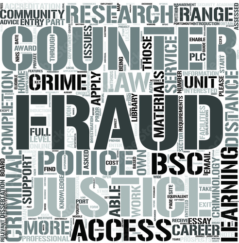 Counter Fraud and Criminal Justice EnglishWord Cloud Concept