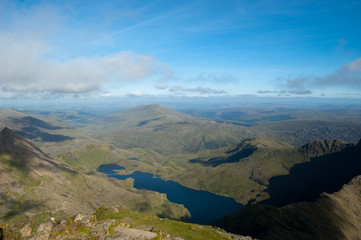 Arial view of Snowdonia from Snowdon summit
