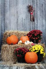 Pumpkins on Straw Bales