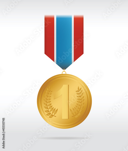 Golden medal with thee color ribbon