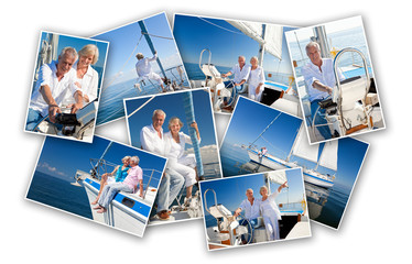 Happy Senior Couple Sailing a Yacht Boat Montage