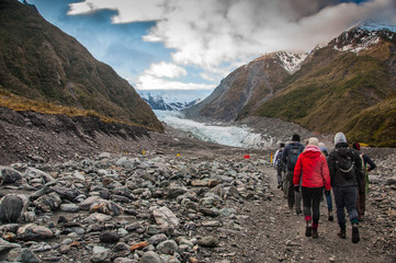 People Trecking up the Fox Glacier - New Zealand