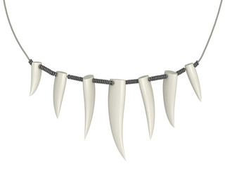 necklace of teeth on a white background