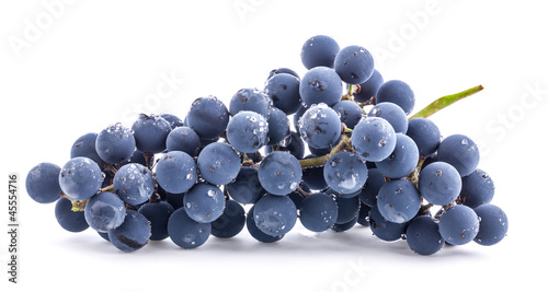 Ripe dark grapes with leaves, Isolated on white background