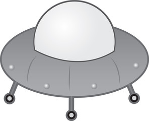 Alien UFO spaceship with wheels